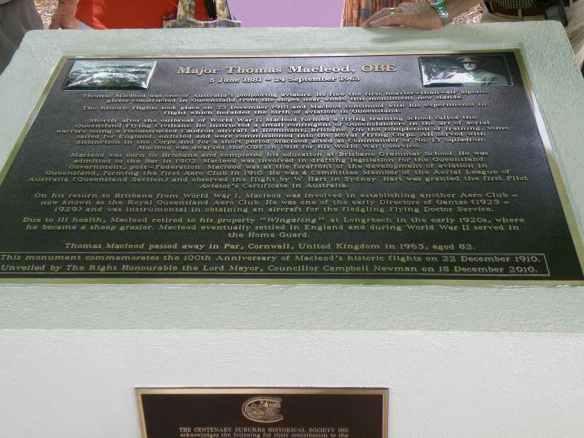 Thomas MacLeod Memorial Plaque close up