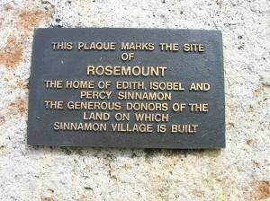 Plaque at Sinnamon Village (RC/CSHSoc)